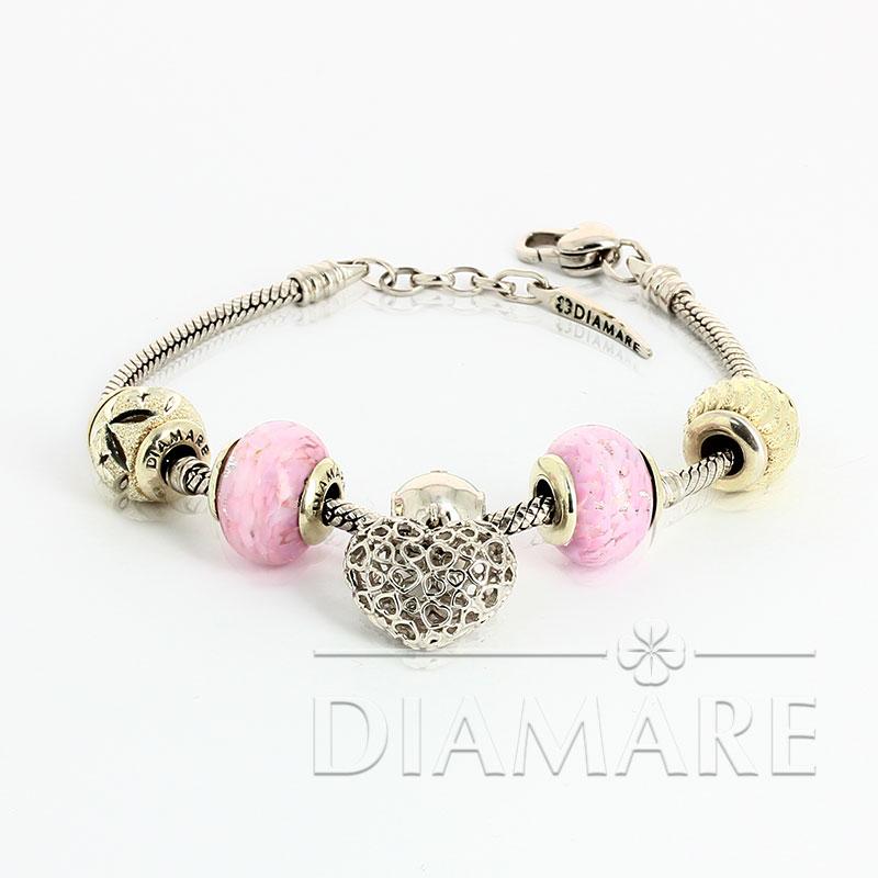Браслет Diamare с розовыми перлинами