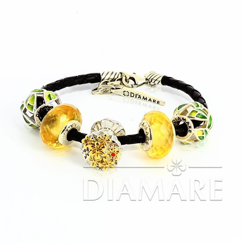 Браслет Diamare с желтыми перлинами