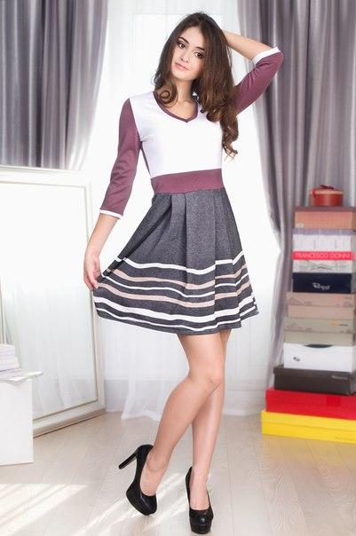 Цветное платье в полоску
